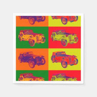 Colorful Mg Tc Antique Car Pop Art Disposable Napkin
