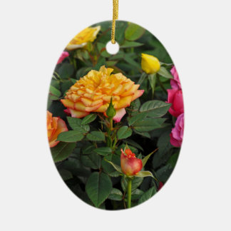 Colorful miniature roses ceramic oval decoration