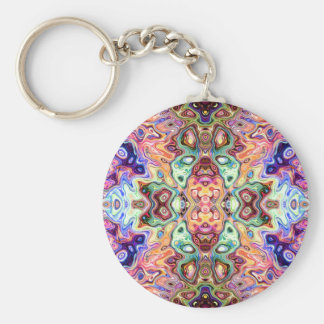 Colorful Mirror Image Abstract Key Ring