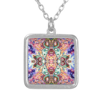 Colorful Mirror Image Abstract Silver Plated Necklace
