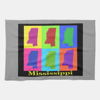 Colorful Mississippi State Pop Art Map Kitchen Towel