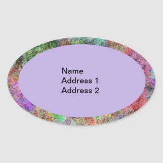 Colorful Mists of Colors in Oval Purple Green Pink Oval Sticker