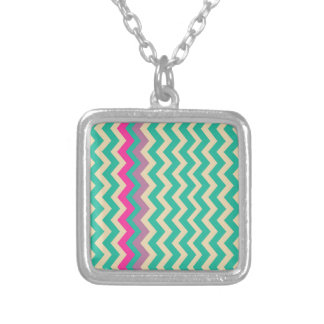 Colorful Mixed Bordered Zigzags Square Pendant Necklace