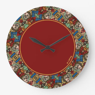 Colorful Modern Abstract Faces Pattern Round Large Clock