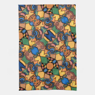 Colorful Modern Abstract Pattern Tea Towel