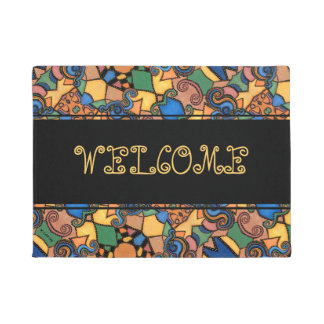 Colorful Modern Abstract Pattern Welcome Doormat