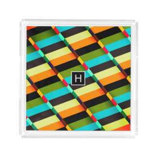 Colorful Modern Abstract Stripes & Monogram Acrylic Tray