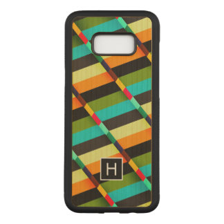 Colorful Modern Abstract Stripes & Monogram Carved Samsung Galaxy S8+ Case