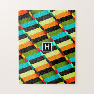 Colorful Modern Abstract Stripes & Monogram Jigsaw Puzzle
