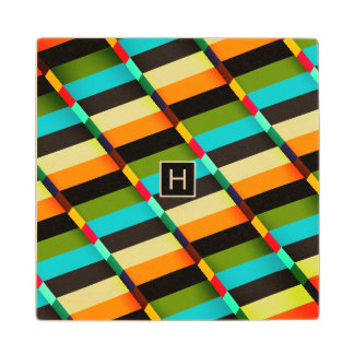 Colorful Modern Abstract Stripes & Monogram Wood Coaster