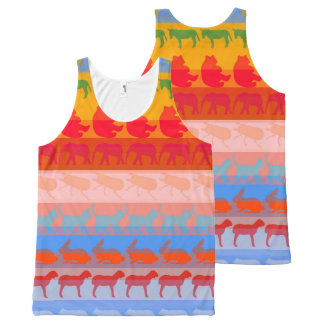 Colorful Modern Animals Pattern #2 All-Over Print Singlet