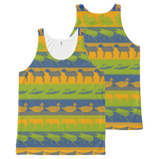 Colorful Modern Animals Pattern #7 All-Over Print Singlet