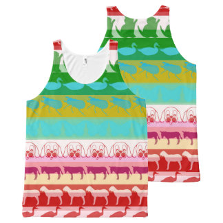 Colorful Modern Animals Pattern #8 All-Over Print Singlet