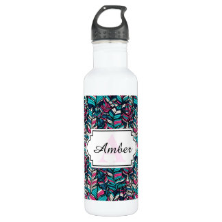 Colorful modern Boho feather seamless pattern 710 Ml Water Bottle