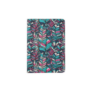Colorful modern Boho feather seamless pattern Passport Holder