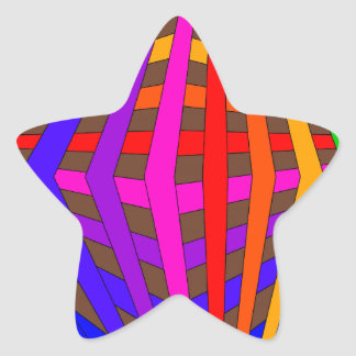Colorful Modern Bold Spectrum Geometric Fun 1 Star Sticker