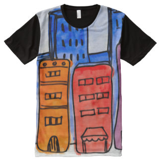 Colorful Modern City Watercolor Art All-Over Print T-Shirt