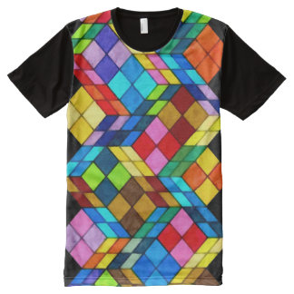 Colorful Modern Cube Pattern All-Over Print T-Shirt