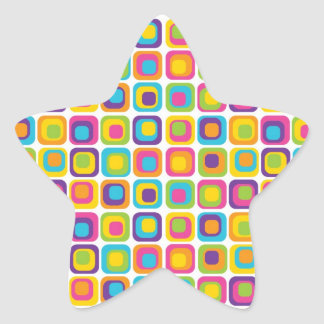 Colorful Modern Dots and Squares Pattern Gifts Star Sticker
