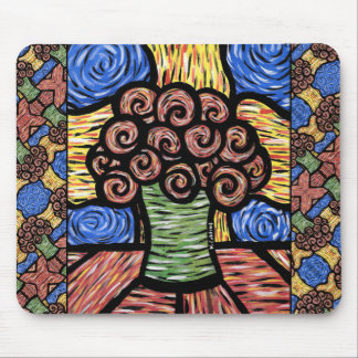 Colorful Modern Floral Design Mouse Pad