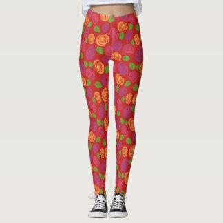 Colorful Modern Floral Flower Pattern ustom Color Leggings