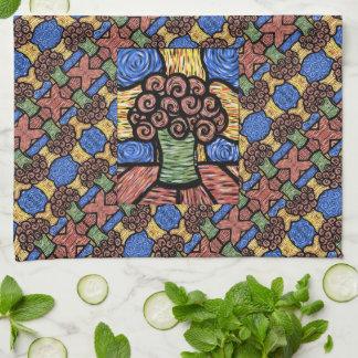 Colorful Modern Floral Pattern Tea Towel