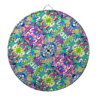 Colorful Modern Floral Print Dartboard