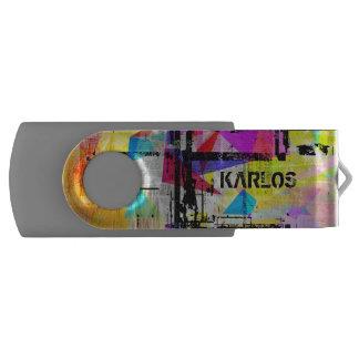 Colorful Modern Grunge Art Monogram USB Flash Drive
