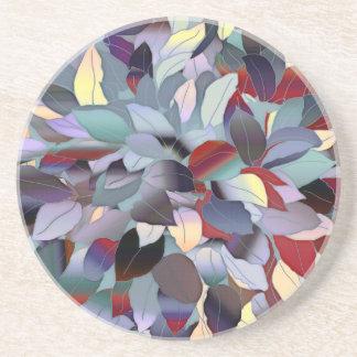 Colorful Modern Leaf Pattern Drink Coaster