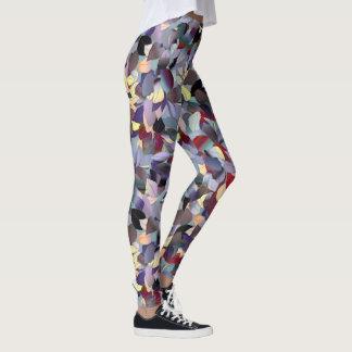 Colorful Modern Leaf Pattern Leggings