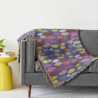 Colorful Modern Leaf Pattern on Violet Throw Blanket