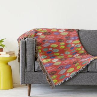 Colorful Modern Leaf Pattern Throw Blanket