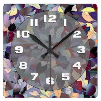Colorful Modern Leaf Pattern Wall Clock