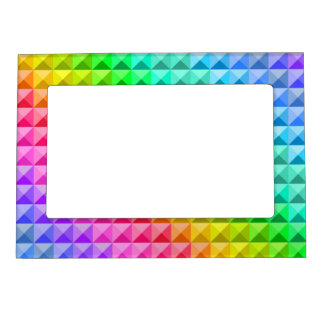 Colorful modern mosaic tiles pattern photo frame magnets