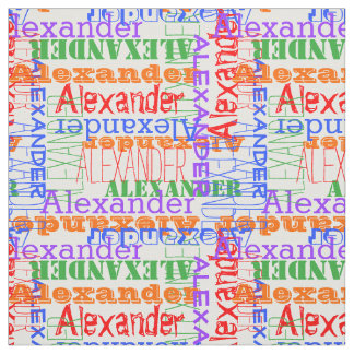 Colorful Modern Name Collage Rainbow Fabric