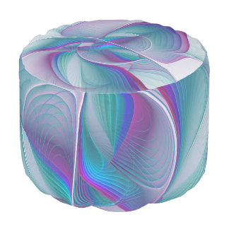 Colorful Modern Pink Blue Turquoise Fractal Art Pouf
