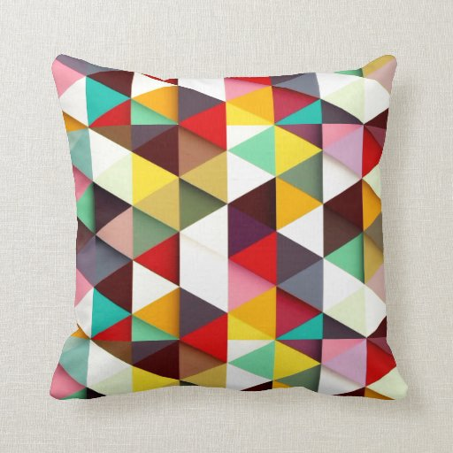 Colorful Modern Triangle Pattern Pillow