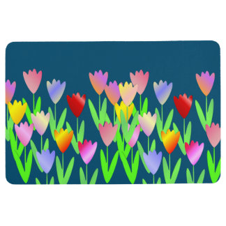 Colorful Modern Tulips Mat Rug