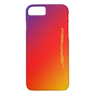 Colorful Modern Vivid Rainbow, Personalized Name iPhone 7 Case