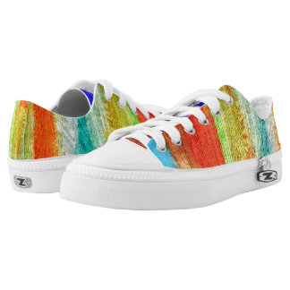 Colorful Modern Wood Grain Background #10 Printed Shoes