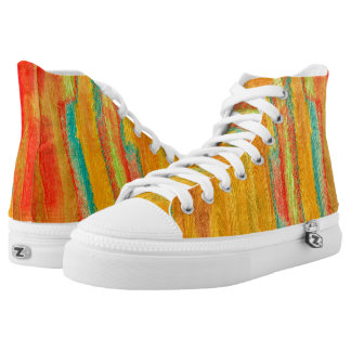 Colorful Modern Wood Grain Background #5 Printed Shoes