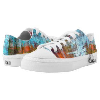 Colorful Modern Wood Grain Background Printed Shoes