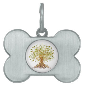 Colorful Modernist Tree 13 Pet Name Tag