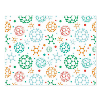 Colorful molecules pattern postcard