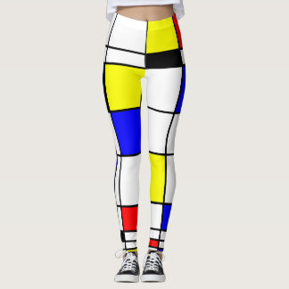 Colorful Mondrian Art Stylish Pattern Leggings