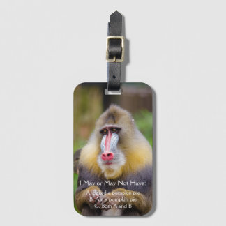 Colorful Monkey Photo Funny Pumpkin Pie Quote Luggage Tag