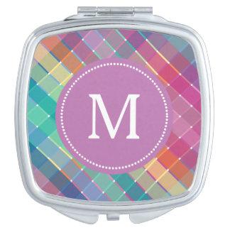 Colorful Monogram Rainbow Plaid Stripes Mirror For Makeup
