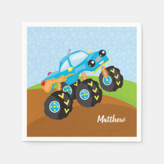 Colorful monster truck paper napkin