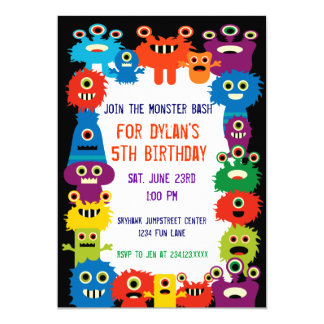 """Colorful Monsters Birthday Party Invitations 5"""" X 7"""" Invitation Card"""