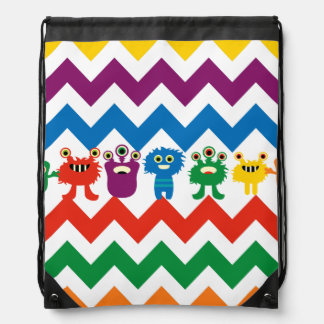 Colorful Monsters Chevron Zigzags Kids Cinch Bag